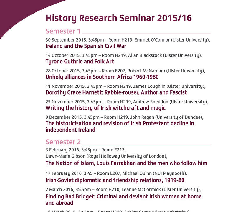 Schedule History Research Seminars